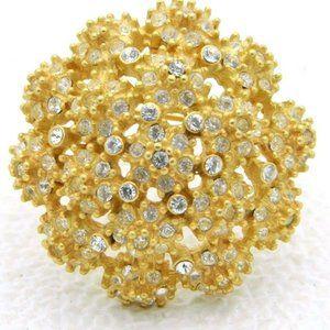 Vintage Gold Tone Clear Rhinestone Flower Cluster